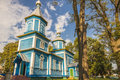 Small blue wooden old orthodoxy church ukraine europe Royalty Free Stock Photos