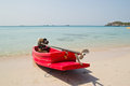 Small boat on beach at chonburi thailand Stock Photography