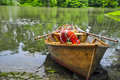 Small boat on a lake in poland Royalty Free Stock Photo