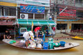 Small boat during the monsoon flooding in Thailand Royalty Free Stock Photography