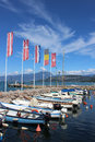 Small boats in Cisano harbor, Lake Garda, Italy Royalty Free Stock Photo