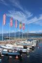 Small boats in Cisano harbor, Lake Garda, Italy Royalty Free Stock Photo