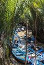 Small boats on mekong river delta narrow Stock Photo