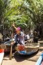 Small boats on mekong river delta narrow Stock Photos