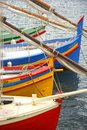 Colorful boats resting in the sea