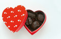 Small box of chocolates red heart shaped dark Royalty Free Stock Image