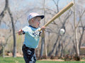 Small boy with bat and ball Stock Photo
