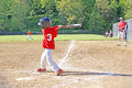 Small boy batting a swinging the ball in the ballgame that took place in may in the greater willamette valley of oregon Stock Photography