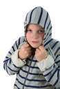 Small boy hidden in a hood isolated on white Royalty Free Stock Images