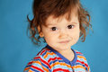 Small boy portrait portrit on blue background Royalty Free Stock Photos
