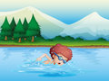 A small boy swimming illustration of Royalty Free Stock Images