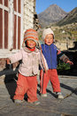 Small boys in Manang, Annapurna trail, Nepal Royalty Free Stock Images