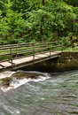 A small bridge over a creek in green forest Stock Photos