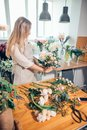 Smiling lovely young woman florist arranging plants in flower shop Royalty Free Stock Photo