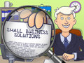 Small Business Solutions through Magnifier. Doodle Style.