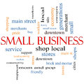 Small business word cloud concept with great terms such as shop local community support stores and more Stock Image