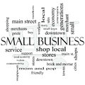 Small business word cloud concept with shopping cart in background great terms such as shop local community support stores Royalty Free Stock Photography