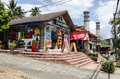 Small cafes and shops in the street of thai resort town Stock Photos