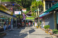 Small cafes shops thai resort town Royalty Free Stock Photos