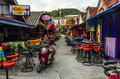 Small cafes and shops on the thai in resort town Royalty Free Stock Photo