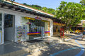 Small cafes and shops on the thai in resort town Stock Photos