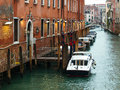 Small canal in venice italy empty street Royalty Free Stock Images
