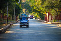 Small car mandalay in myanmar burmar on the road to palace Royalty Free Stock Photography