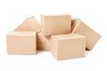 Small cardboard boxes isolated on white clipping path Stock Photo