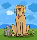 Small cat and big dog cartoon illustration of cute funny or great dane in friendship rural scene Stock Photo