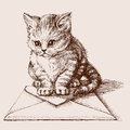 Small cat sketched portrait