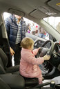 Small child drove the car kaliningrad russia – march on toyota presentation Royalty Free Stock Photography