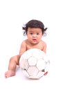 The small child plays with a soccerball asia Stock Images