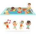 Small Children Having Fun In Water Of The Pool With Floats And Inflatable Toys In Colorful Swimsuit Set Of Happy Cute