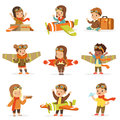 Small Children In Pilot Costumes Dreaming Of Piloting The Plane, Playing With Toys Adorable Cartoon Characters Royalty Free Stock Photo