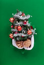 Small christmas tree handed to you through a hole in green paper Royalty Free Stock Image
