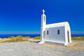 Small church on the coast of Crete Royalty Free Stock Photo