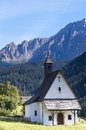 Small church in dolomites italy at nova levante weischnofen the north Royalty Free Stock Photo