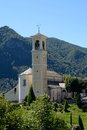 Small church in italian mountain village typical trarego alps Stock Photo
