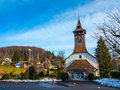 Small church swiss in uetendorf switzerland Royalty Free Stock Images