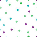 Seamless abstract background composed of squares completed of pink, blue and green circles in different sizes