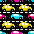 Small colored cars on the road beautiful background vector eps Royalty Free Stock Photos