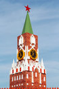Small copy of moscow kremlin spasskaya tower with chimes and sky Royalty Free Stock Photography
