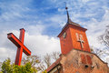 Small cottage church in the summer scenery poland Stock Photo