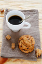 Small cup of coffee and cookies food closeup Royalty Free Stock Photography