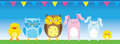 Small cute animals on occasion. Suitable for birthday, wall deco