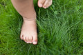 Small cute baby feet on the green grass Royalty Free Stock Photography