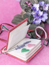 Small diary with lavender and hearts still life notepad Royalty Free Stock Photography