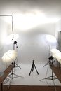 Small empty amateur studio with the white background Stock Photography