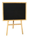 Small empty black wooden blackboard isolated on white with clipping path Stock Images