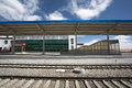 Small empty chinese train station in tibet region blue cloudy sky and detail a and the of china Royalty Free Stock Image